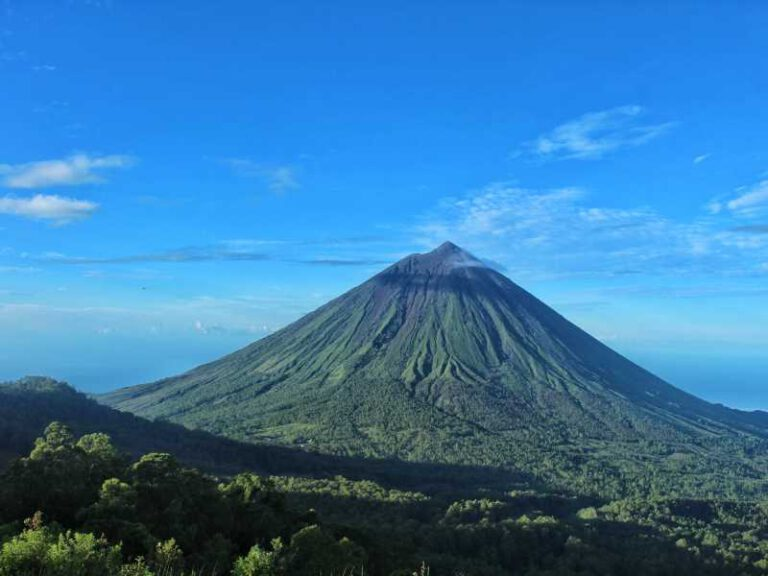 View of mount Inerie from Wolobobo Hill in Bajawa, Flores Island