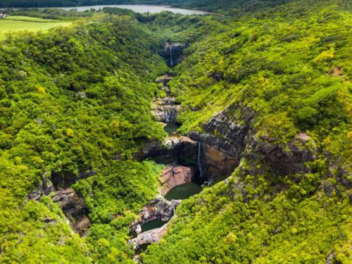 800- Mauritius - aerial-view-from-above-of-the-tamarin-waterfall-seven-cascades-in-the-tropical-jungles-of-the-island-of-mauritius