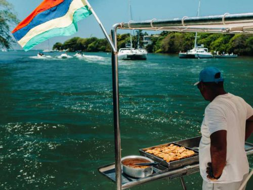 800- Mauritius - barbecue-on-a-boat-in-the-indian-ocean-near-the-island-of-mauritius-the-mauritius-flag